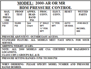 BDM model 2000 pressure control specifications.